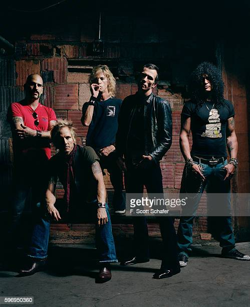 Dave Kushner, Matt Sorum, Duff McKagan, Scott Weiland and Slash) are photographed for Newsweek Magazine in 2004.