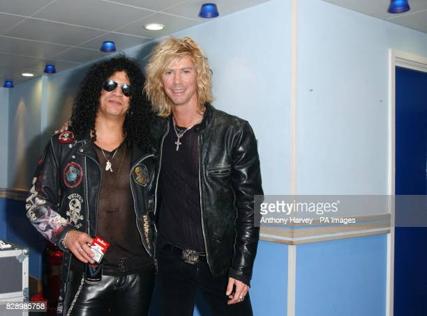 Velvet Revolver band members Slash and Duff formerly of Guns'N'Roses during his guest appearance on MTV's TRL UK at the MTV Studios in Camden north...