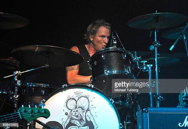 Velvet Revolver drummer Matt Sorum performs with allstar cover band Camp Freddy at the benefit grand opening of celebrity vehicle customization shop...