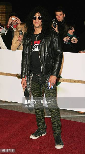 Velvet Revolver guitarist Slash arrives for the live final of the UK Music Hall Of Fame 2005 the culmination of the twoweek Channel 4 series looking...