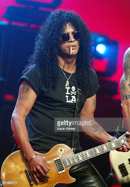 "Velvet Revolvers' Slash appears on ""The Tonight Show with Jay Leno"" at the NBC Studios on October 14, 2004 in Burbank, California."