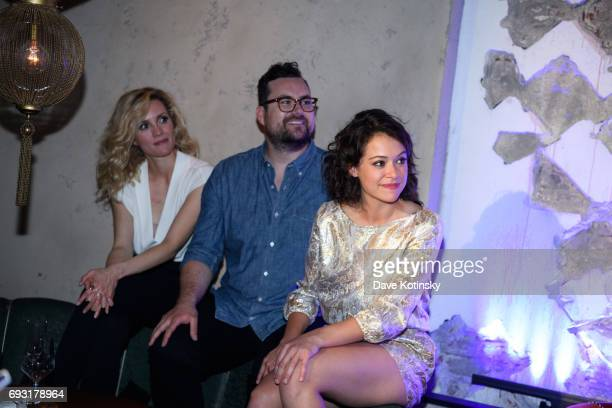 Évelyne Brochu and Tatiana Maslany attend the BBC AMERICA's Orphan Black Premiere Party at Vandal on June 6 2017 in New York City
