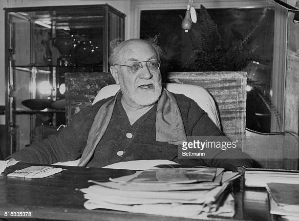 Artist Works In Bed French painter Henri Matisse keeps close to his pencils and papers as he sits in bed Retired since 1938 the old master leads a...