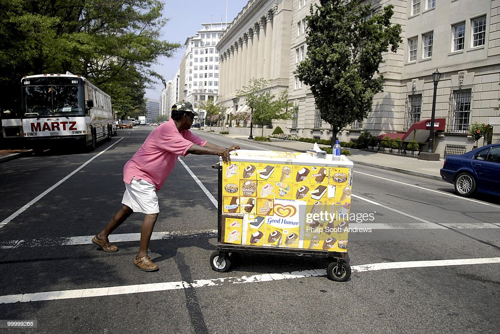 A vender sells ice cream outside LaFayette Park in Washington D.C.