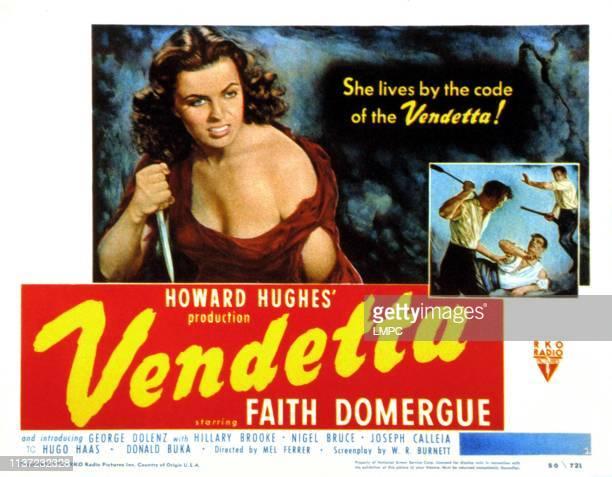 Vendetta lobbycard Faith Domergue 1950