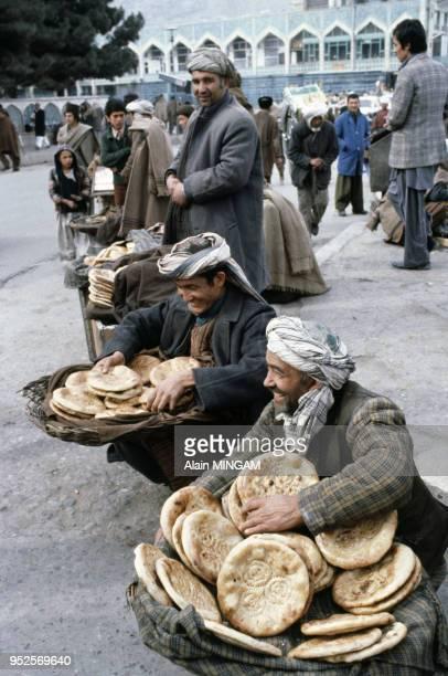 Vendeurs de pain en 1980 à Kaboul Afghanistan