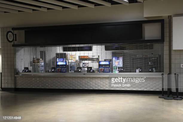 A vending kiosk is closed prior to the Detroit Red Wings playing against the Washington Capitals at Capital One Arena on March 12 2020 in Washington...