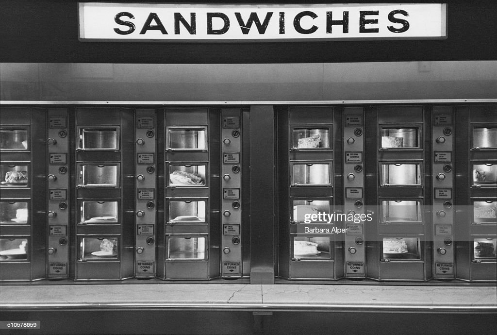 A vending machine selling sandwiches at a Horn & Hardart Automat, Third Avenue, New York City, USA, January 1980.
