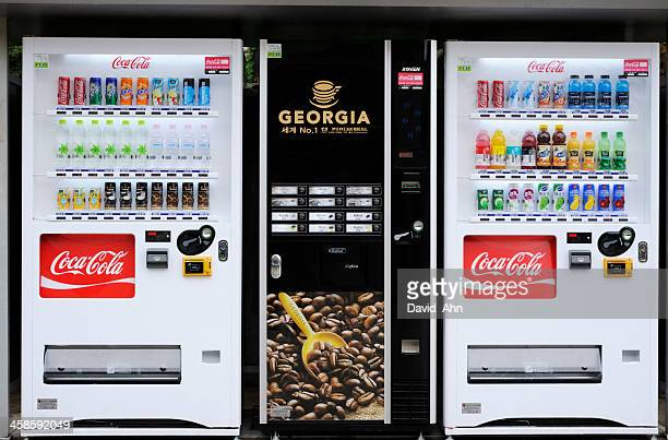 vending machines in korea - vending machine stock photos and pictures