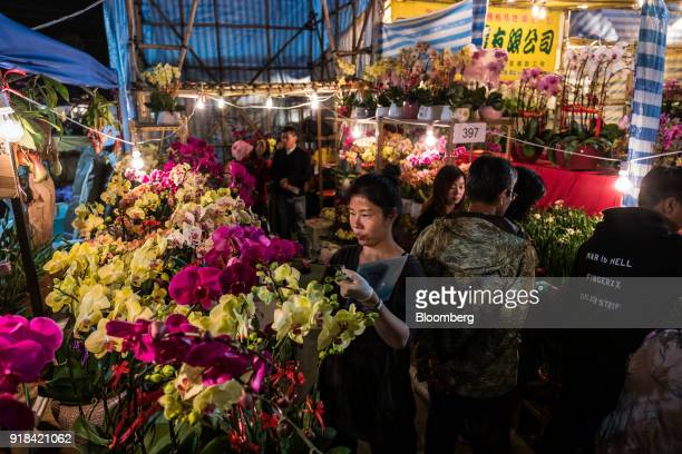 A vendor arranges flowers at the Lunar New Year fair at Victoria Park in Hong Kong China on Wednesday Feb 14 2018 The city's financial markets will...
