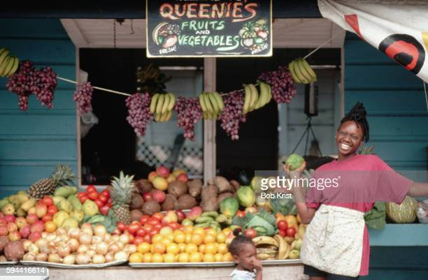 Vendor at Her Produce Stand