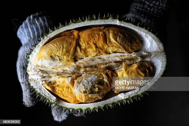 A vendor displays the cross section of a durian fruit at a roadside shop in Karak in the suburbs of Pahang outside Kuala Lumpur on July 14 2015 The...
