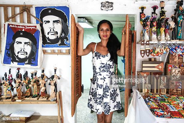 A vendor inside her shop with suvenirs and memorabilia for sale ready to receive costumers in Havana's city center Since the 24th May the Cuban...
