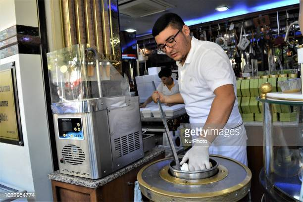 Vendor prepares famous and traditional Maras ice-cream on the second day of Eid al-Adha in southern Kahramanmaras province of Turkey on August 22,...