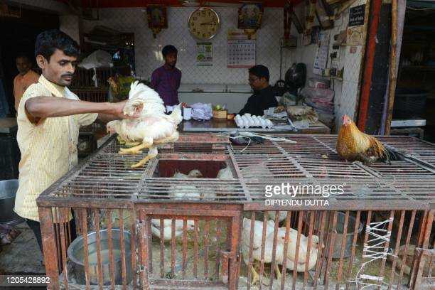 A vendor puts a chicken in a cage at an empty poultry market in Siliguri on March 6 2020 India's poultry industry is reeling under a severe crisis...