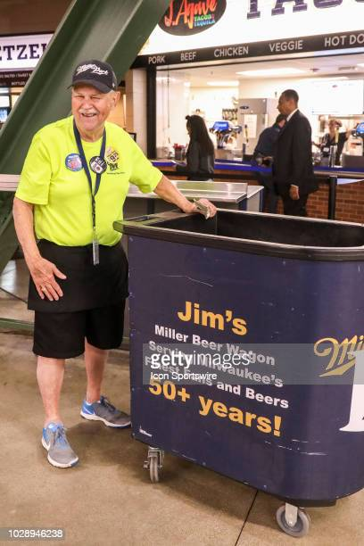 Vendor selling beer during the first game of the final home series between the Milwaukee Brewers and the San Francisco Giants on September 7 at...