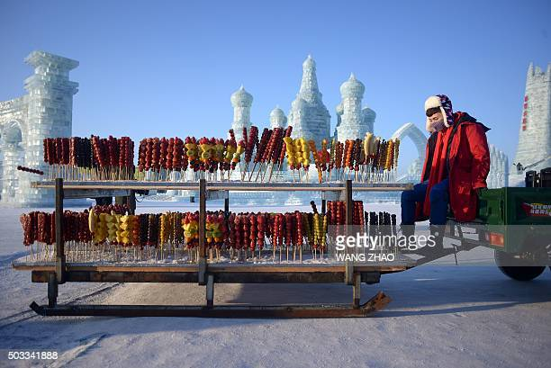 A vendor selling candied haws waits for customers at the China Ice and Snow World before the opening ceremony of the Harbin International Ice and...