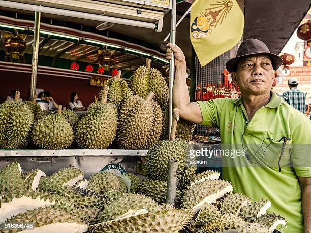 Vendor selling durian fruit Bangkok