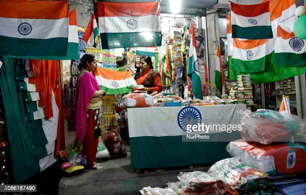 A vendor selling national flags ahead of the Republic Day in Guwahati Assam on Tuesday January 22 2019