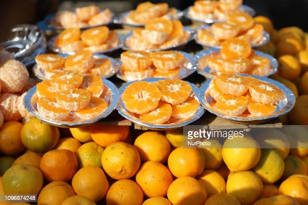 A Vendor Selling Oranges Outside Jama Masjid In the Old Quarters of Delhi India on 9 February 2019