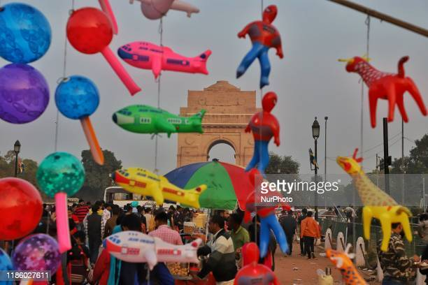 A vendor selling Toys for kids near India Gate in New Delhi India on 02 December 2019