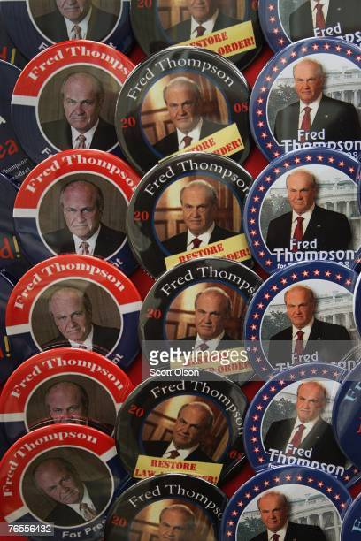 A vendor sells campaign buttons at the first official campaign stop for actor and former US Senator Fred Thompson at the Polk County Convention...
