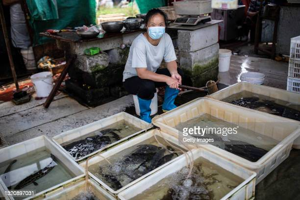Vendor sells fish at an open market on May 31, 2021 in Wuhan, China. A renewed interest in the origins of COVID-19 has emerged after U.S. President...