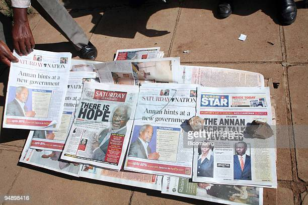 A vendor sells his newspapers in Eldoret Kenya on Saturday Feb 16 2008 As many as 400 people died in the violence in and around Eldoret out of more...