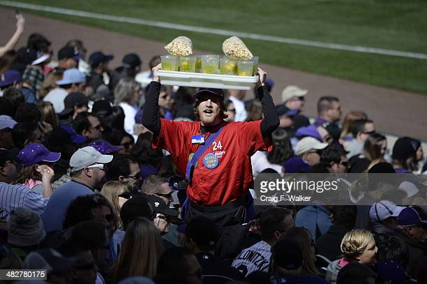 A vendor sells kettle corn during the Colorado Rockies home opener against the Arizona Diamondbacks at Coors Field in Denver CO April 04 2014