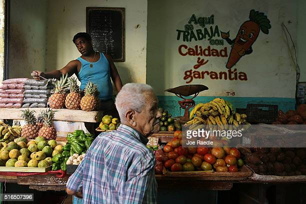 Vendor sells produce as Cuba prepares for the visit of U.S. President Barack Obama on March 19, 2016 in Havana, Cuba. Mr. Obama's visit on March 20 -...