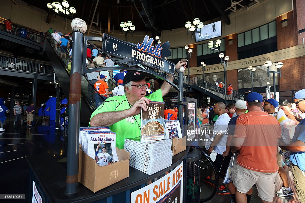 A vendor sells programs during Gatorade All-Star Workout Day on July 15, 2013 at Citi Field in the Flushing neighborhood of the Queens borough of New York City.