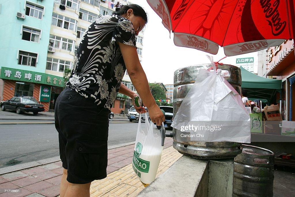 A Vendor S Take Away Tsingtao Beer In Plastic Bag At On