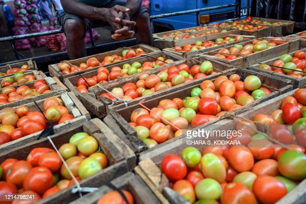 Vendor sells tomatoes at a market in Dambulla in the north of Central Province of Sri Lanka on May 23, 2020.