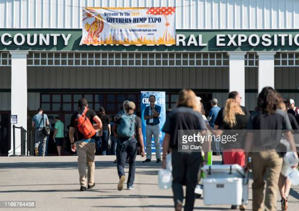 Vendors and attendees arrive for the Southern Hemp Expo at the Williamson County Agricultural Exposition Park in Franklin TN on Friday Sept 6 2019