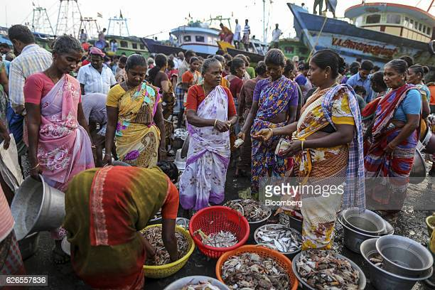 Vendors and customers look at fish and seafood on sale at a stalls at the Nagapattinam fishing harbor in Nagapattinam Tamil Nadu India on Sunday Oct...