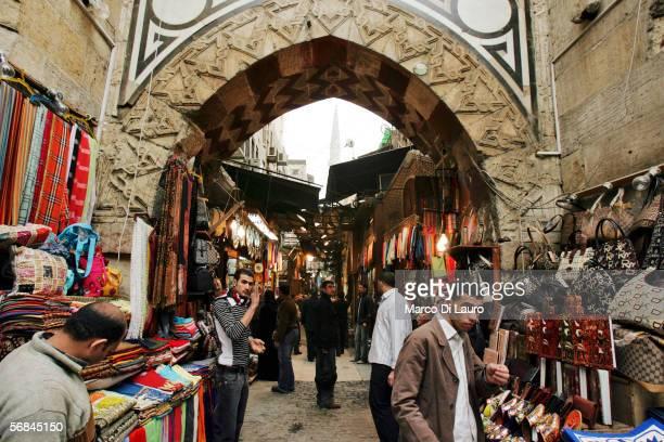 CAIRO EGYPT FEBRUARY 8 Vendors are seen in the Khan alKhalili bazaar on February 8 2006 in Islamic Cairo Egypt The Khan is one of the largest bazaars...