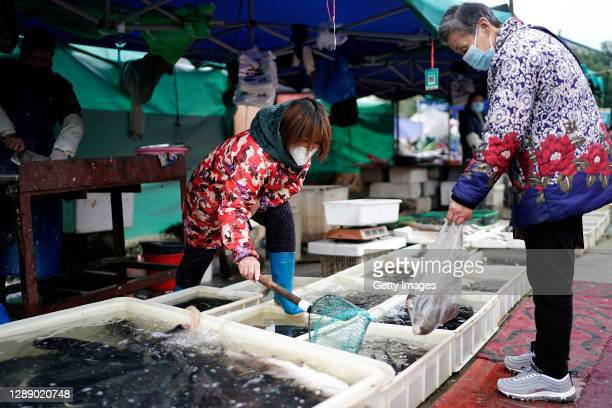 Vendors are selling fish in an open market on December 2, 2020 in Wuhan, Hubei province, China. As there have been no recorded cases of community...
