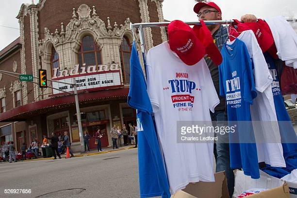 Vendors congregated outside a rally for Republican presidential candidate Donald Trump at the Indiana Theater on May 1 2016 in Terre Haute Indiana...
