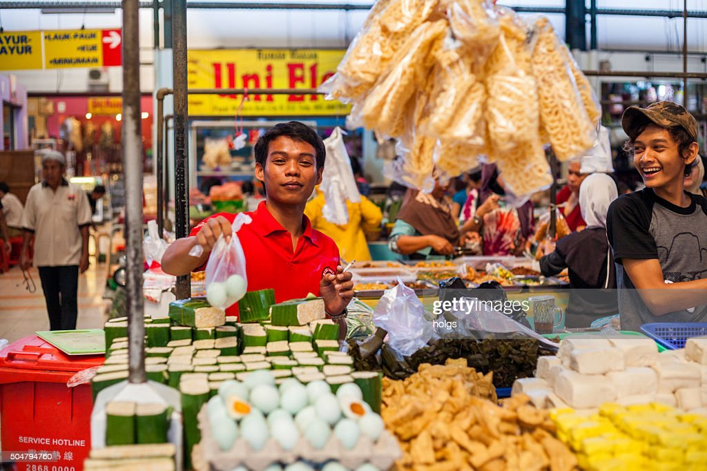 Vendors in a market in Tangerang, Indonesia : Stock Photo