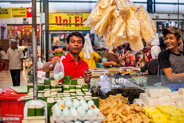 Vendors in a market in Tangerang, Indonesia