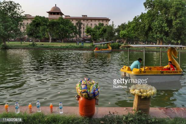 Vendors kept snacks and Cold Drinks for the Tourists near a pond in New Delhi India on 28 April 2019