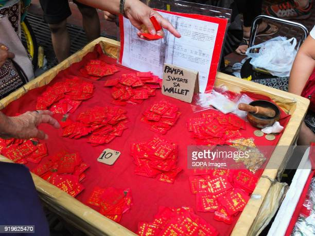 CHINATOWN MANILA PHILIPPINES Vendors selling chinese red envelopes in the streets of Binondo Filipinos celebrated the Chinese New year by visiting...