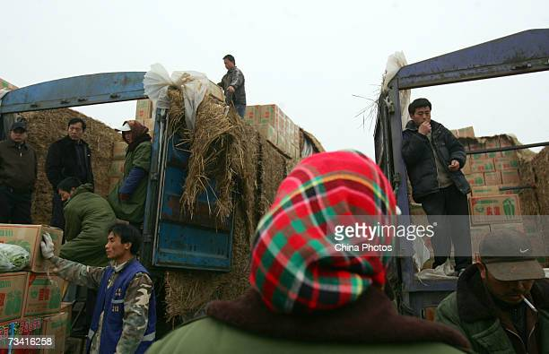Vendors wait customers at the Xinfadi Vegetable Auction Market on February 25 2007 in Beijing China Xinfadi is the largest of the 4000 vegetable...