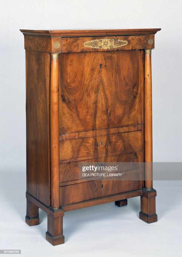 Veneered mahogany secretary desk with drop leaf and drawers, Italy, first  half 19th century - Veneered Mahogany Secretary Desk With Drop Leaf Pictures Getty Images