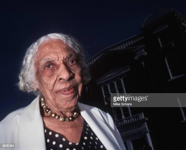 Veneice Dunn Simms, a survivor of the 1921 Tulsa Race Massacres, poses for a portrait November 21, 1999 outside Vernon AME Church in Tulsa, Oklahoma....