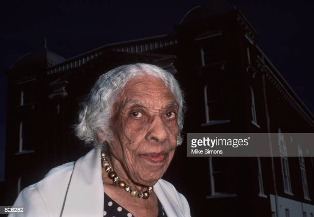 Veneice Dunn Simms a survivor of the 1921 Tulsa Race Riots poses for a portrait November 21 1999 outside Vernon AME Church in Tulsa Oklahoma The...