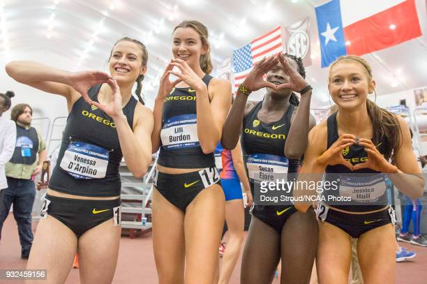 Venessa D'Arpino Lilli Burdon Susan Ejore and Jessica Hull of the University of Oregon win the Women's Distance Medley during the Division I Men's...