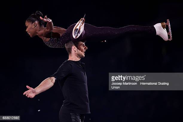 Venessa James and Morgan Cipres of France perform in the gala exhibition during day 5 of the European Figure Skating Championships at Ostravar Arena...