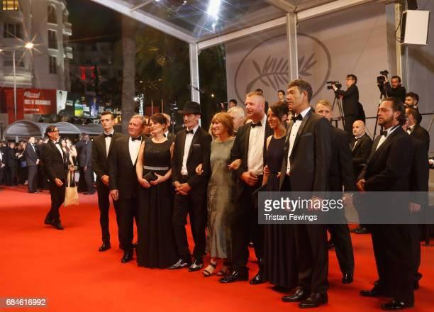 Veneta Fragnova Meinhard Neumann director Valeska Grisebach Reinhardt Wetrek and Syuleyman Alilov Letifov attend the screening of their movie...