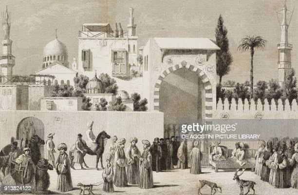 Venetian Ambassador being received in Constantinople Istanbul Turkey engraving by Lemaitre and Lalaisse after a painting by Giovanni Bellini from...